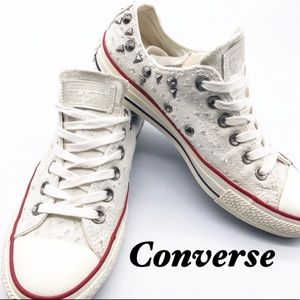 Converse White Studded Metallic thread Sneakers 7